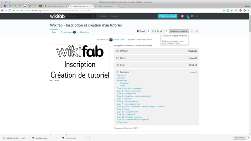Wikifab - Inscription et création d'un tutoriel Wikifab - Inscription et cr ation d un tutoriel Wikifab Chromium 023.png